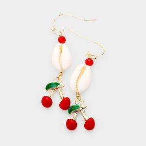 🐚🍒Handcrafted Cowrie Shell Cherry Earrings